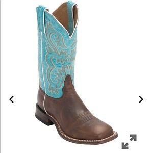 Tony Lama Americana Turquoise Top Square boots